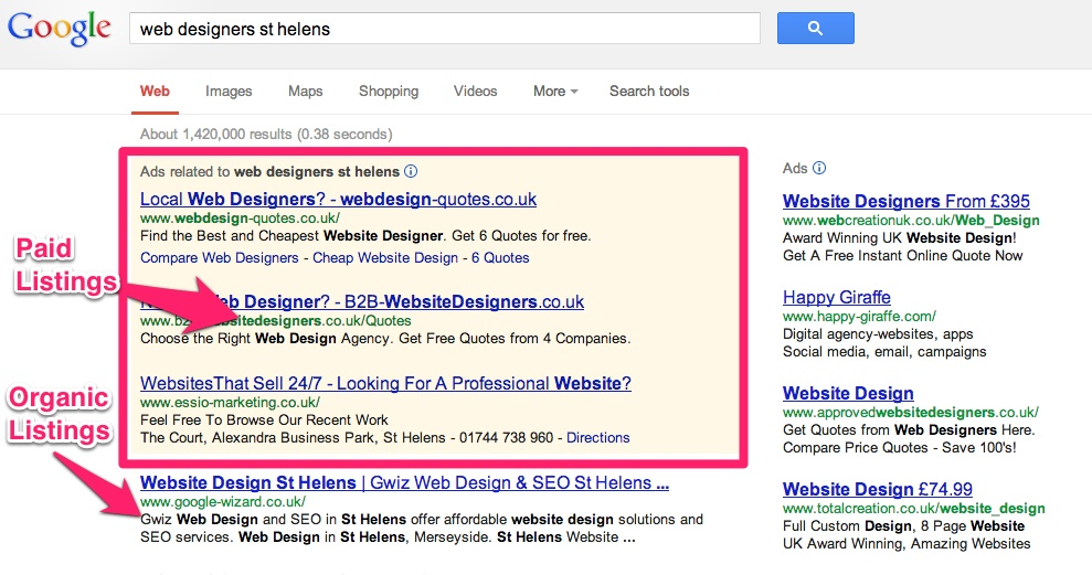 local search results for web designers in st helens
