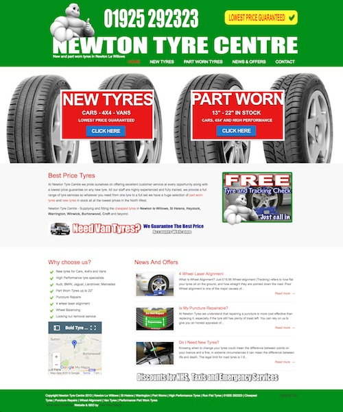 Web design for tyre depot in St Helens