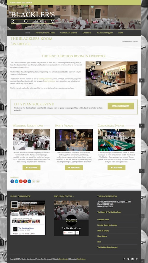 Website Design For Function Rooms Gwiz Web Design St Helens