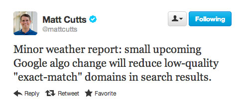 Matt Cutts Tweet EMD