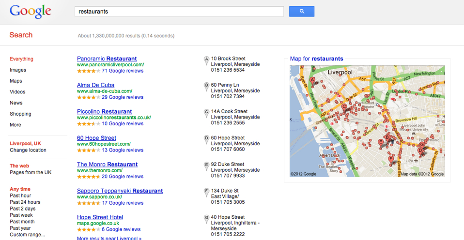 Local search results affected by Venice update