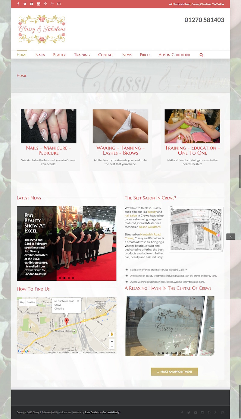 Salon website designs
