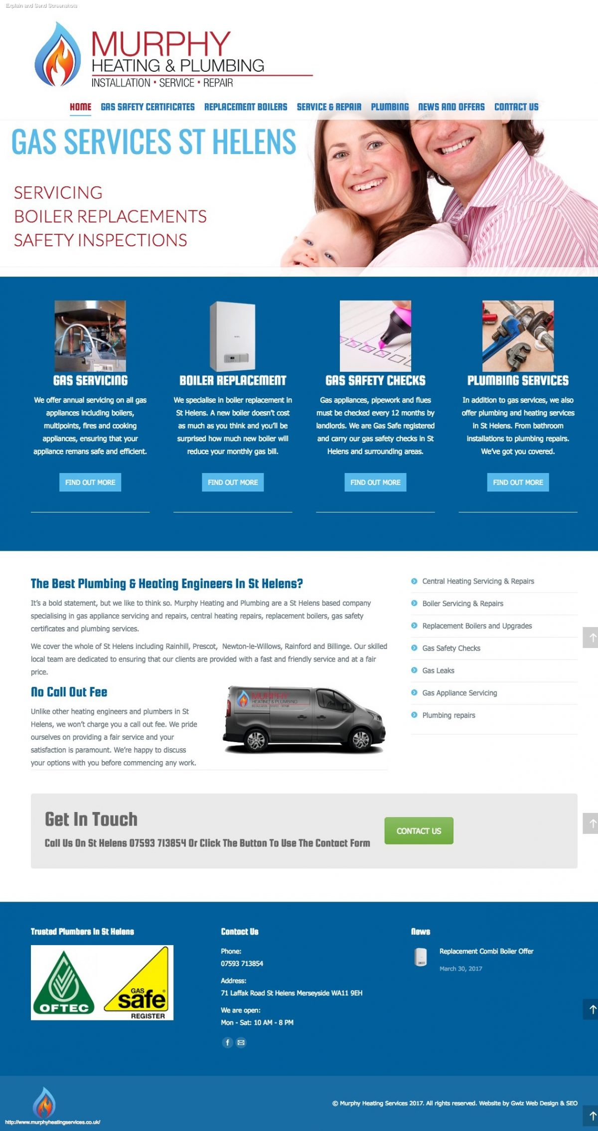 Web design for plumbing and heating engineers in St Helens