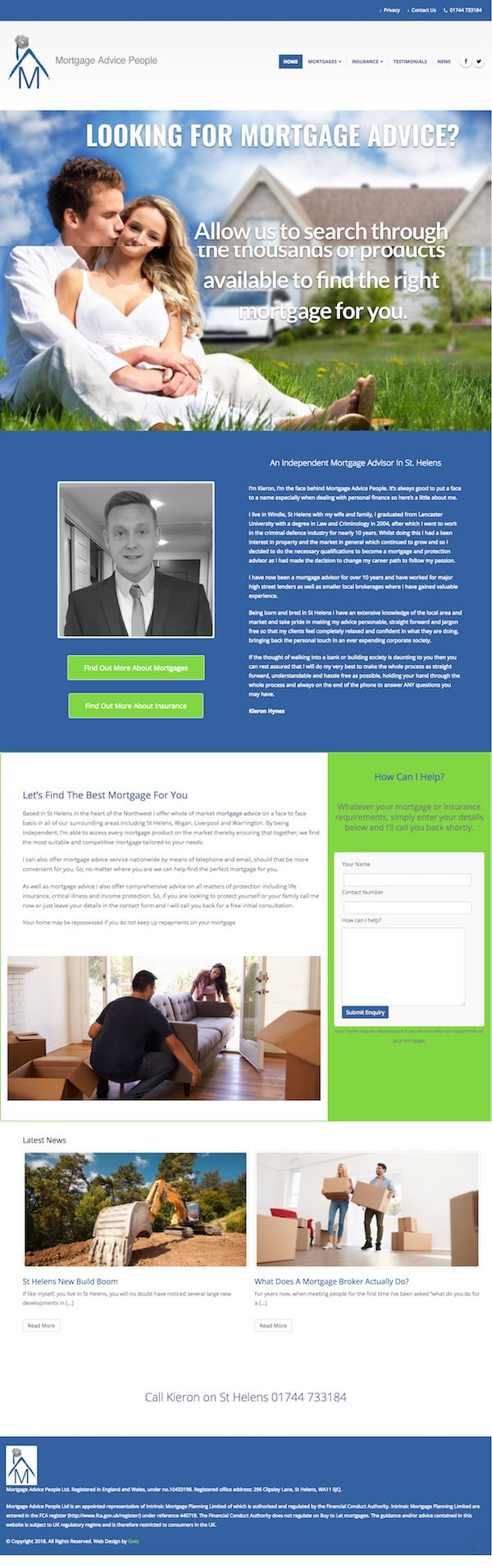 Web design for mortgage advisor St Helens